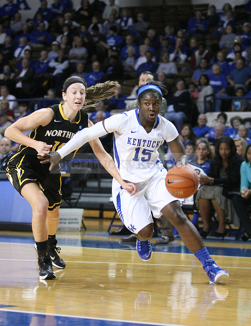 Linnae Harper (15) drives the ball on defender during the second half of the women UK hoops vs. Northern Kentucky University at Memorial Coliseum. Wednesday, December 3, 2014 in Lexington. Photo by Joel Repoley | Staff