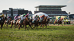 LIVERPOOL - APRIL 14: Horses run toward the first fence after the start in the Randox Health Grand National Steeplechase at Aintree Racecourse in Liverpool, UK (Photo by Sophie Shore/Eclipse Sportswire/Getty Images)