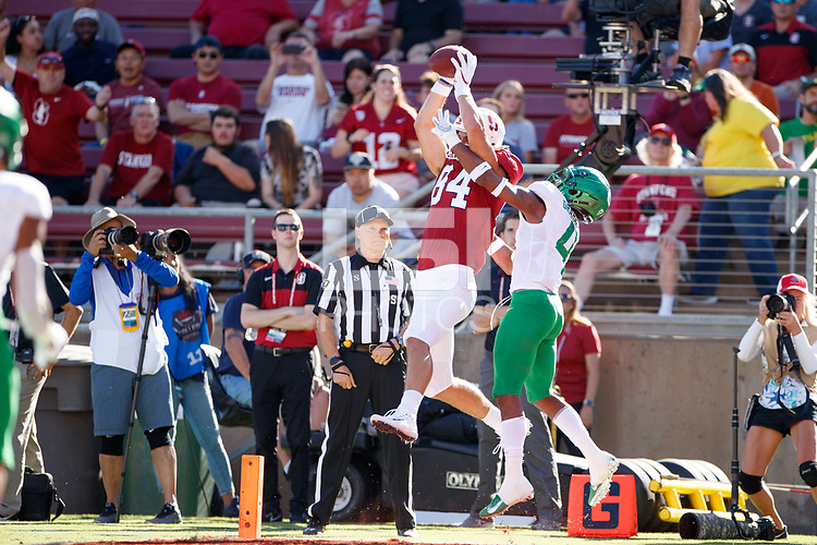 STANFORD, CA - SEPTEMBER 21: Colby Parkinson #84 of the Stanford Cardinal attempts to catch a pass while defended by Colby Parkinson #84 during a game between University of Oregon and Stanford Football at Stanford Stadium on September 21, 2019 in Stanford, California.