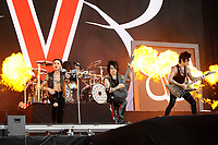 DERBY, ENGLAND - JUNE 10: Andy Biersack, Jinxx and Jake Pitts of 'Black Veil Brides ' performing at Download Festival, Donington Park on June 10, 2018 in Derby.<br /> CAP/MAR<br /> &copy;MAR/Capital Pictures