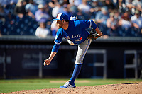 Toronto Blue Jays relief pitcher Conor Fisk (76) delivers a pitch during a Grapefruit League Spring Training game against the New York Yankees on February 25, 2019 at George M. Steinbrenner Field in Tampa, Florida.  Yankees defeated the Blue Jays 3-0.  (Mike Janes/Four Seam Images)