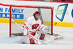 Wisconsin Badgers goaltender Alex Rigsby (33) of the women's hockey team during a freshman photo shoot. This was a staged action shot for the UW Marketing Department. (Photo by David Stluka)
