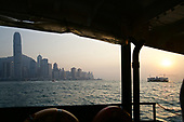 A Star Ferry heads towards Hong Kong's Central financial district.