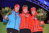 SCHAATSEN: AMSTERDAM: Olympisch Stadion, 01-03-2014, KPN NK Sprint/Allround, Coolste Baan van Nederland, podium Dames Sprint 1000m, Margot Boer, Lotte van Beek, Marrit Leenstra, ©foto Martin de Jong