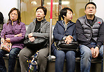 Hong Kong urban scene - commuters riding in the MRT subway