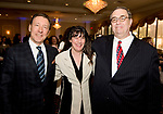 WATERBURY, CT-042518JS10- Keynote speaker George Bodenheimer,  former ESPN President and Executive Chairman,  Elizabeth Catuccio from the NVCC Resource Development office and Charles Pagano, Jr., Fundraising Committee Chair for the Naugatuck Valley Community College Foundation, at the Naugatuck Valley Community College Foundation's Leadership Breakfast held at La Bella Vista in Waterbury.   <br /> Jim Shannon Republican American