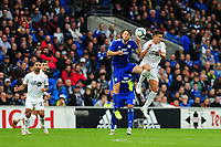 Harry Arter of Cardiff City battles with Ashley Westwood of Burnley during the Premier League match between Cardiff City and Burnley at Cardiff City Stadium in Cardiff, Wales, UK. Sunday 30 September 2018