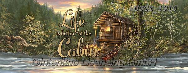 Dona Gelsinger, LANDSCAPES, LANDSCHAFTEN, PAISAJES, paintings+++++,USGE1910,#l#, EVERYDAY,cabin,lodge