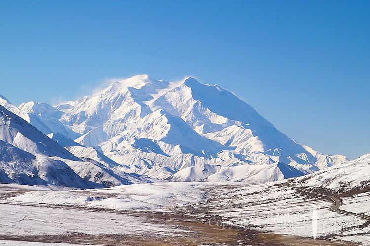 Mt. McKinley towers over the Denali National Park road.