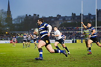 Nathan Charles of Bath Rugby runs in a try in the second half. Anglo-Welsh Cup match, between Bath Rugby and Newcastle Falcons on January 27, 2018 at the Recreation Ground in Bath, England. Photo by: Patrick Khachfe / Onside Images
