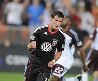 DC United midfielder Chris Pontius (13) celebrates his score from a penalty kick on the 62th minute of the game.   DC United tied The Colorado Rapids 1-1, at RFK Stadium, Saturday  May 14, 2011.