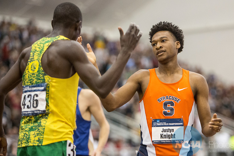 COLLEGE STATION, TX - MARCH 11: Justin Knight of Syracuse congratulates Edward Cheserek of Oregon after the men's 3000 meter race during the Division I Men's and Women's Indoor Track & Field Championship held at the Gilliam Indoor Track Stadium on the Texas A&M University campus on March 11, 2017 in College Station, Texas. (Photo by Michael Starghill/NCAA Photos/NCAA Photos via Getty Images)