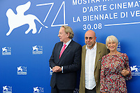 Italian director Paolo Virzi', center, attends a photo call with Canadian actor Donald Sutherland, left, and British actress Helen Mirren, for his movie 'Ella & John - The Leisure Seeker' at the 74th Venice Film Festival, Venice Lido, September 3, 2017. <br /> UPDATE IMAGES PRESS/Marilla Sicilia<br /> <br /> *** ONLY FRANCE AND GERMANY SALES ***