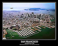This 22&quot; x 28&quot; aerial poster of San Francisco is a view created on the very first Opening Day, April 11, 2000 at San Francisco's baseball stadium, ATT park, also once known as SBC park and PacBell park, home of the San Francisco Giants. <br />