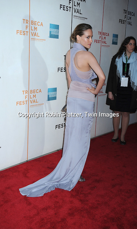 """actress Alicja Bachleda in Haider Ackermann lilac dress arriving at the """"Ondine"""" screening at The Tribeca Film Festival on April 28, 2010 at BMCC in New York"""