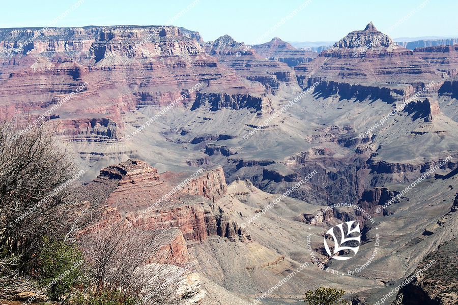 A view of beautiful rock formations at Grand Canyon, Arizona from in South rim.