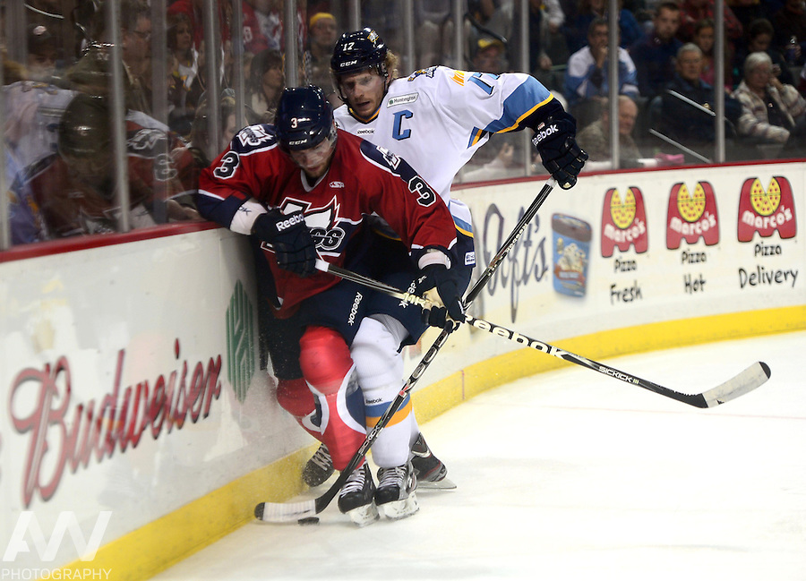 Oct 13, 2012; Toledo, OH, USA; Toledo Walleye right wing Kyle Rogers (17) against the Kalamazoo Wings at Huntington Center: Mandatory Credit: Andrew Weber