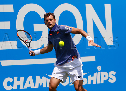 15.06.2016. Queens Club, London, England. Aegon Queens Tennis Championships Day Three. Paul-Henri Mathieu (FRA) hits a forehand  in his 1st round match against  Daniel Evans (GBR).