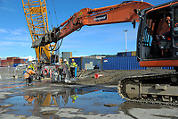 Site demolition and concrete crushing at CentrePort in Wellington, New Zealand on Wednesday, 23 May 2018. Photo: Dave Lintott / lintottphoto.co.nz