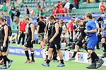 The Hague, Netherlands, June 08: Players of New Zealand look disappointed after the field hockey group match (Men - Group B) between the Black Sticks of New Zealand and Germany on June 8, 2014 during the World Cup 2014 at Kyocera Stadium in The Hague, Netherlands.  Final score 3-5 (1-3) (Photo by Dirk Markgraf / www.265-images.com) *** Local caption *** Dean Couzins #8 of New Zealand, Marcus Child #13 of New Zealand, Stephen Jenness #27 of New Zealand, Hamish McGregor #16 of New Zealand