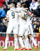 Real Madrid's Karim Benzema, Garet Bale, James Rodriguez and Marcelo Vieira celebrate goal during La Liga match.January 31,2015. (ALTERPHOTOS/Acero) /NortePhoto<br />