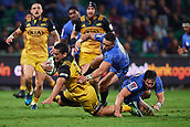 June 3rd 2017, NIB Stadium, Perth, Australia; Super Rugby; Force v Hurricanes;  Leni Apisai of the Hurricanes is brought down in a tackle