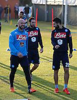 Pepe Reina Gonzalo Higuain  Raul Albiol Allenamento del Napoli nel centro sportivo di CastelVolturno