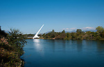Sundial Bridge across Sacramento River in Redding in Northern California.Photo copyright Lee Foster.  Photo # california-sundial-bridge-cashas105010