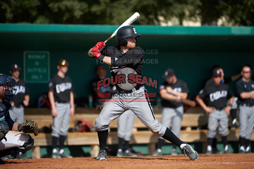 Edgewood Eagles Brodie Engel (3) at bat during the first game of a doubleheader against the Lasell Lasers on April 14, 2016 at Terry Park in Fort Myers, Florida.  Edgewood defeated Lasell 9-7.  (Mike Janes/Four Seam Images)