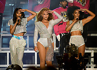 INDIO, CA - APRIL 21: Michelle Williams (L) and Kelly Rowland (R) performs with Beyonce  at the 2018 Coachella Valley Music And Arts Festival at Indio Polo Grounds on April 21, 2018 in Indio, California. (Photo by Frank Micelotta/PictureGroup)