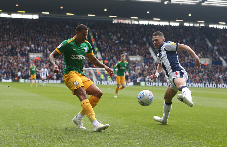 Preston North End's Lukas Nmecha races West Bromwich Albion's Kieran Gibbs to the goal line before crossing the ball<br /> <br /> Photographer Stephen White/CameraSport<br /> <br /> The EFL Sky Bet Championship - West Bromwich Albion v Preston North End - Saturday 13th April 2019 - The Hawthorns - West Bromwich<br /> <br /> World Copyright © 2019 CameraSport. All rights reserved. 43 Linden Ave. Countesthorpe. Leicester. England. LE8 5PG - Tel: +44 (0) 116 277 4147 - admin@camerasport.com - www.camerasport.com