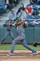 Charcer Burks #27 of the Boise Hawks bats against the Everett AquaSox at Everett Memorial Stadium on July 25, 2014 in Everett, Washington. Everett defeated Boise, 2-1. (Larry Goren/Four Seam Images)