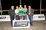 Looter Bob winner of the Frightful Flash Kennels Sweepstake Final at the Kingdom Greyhounds Stadium on Friday. Pictured  David Brosnan, Ian O'Shea, Tralee (owner) Emily O'Shea,  Kieran Casey, Kingdom Greyhounds,  Mike O'Shea (Trainer)