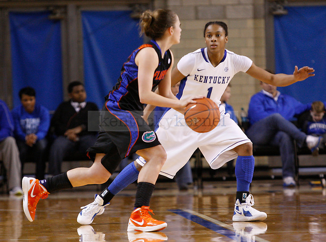 UK guard A'dia Mathies guards a Florida player during the second half of the UK Women's basketball game against Florida on 1/22/12 at Memorial Coliseum in Lexington, Ky. Photo by Quianna Lige | Staff