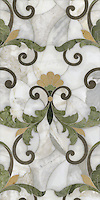 Rococco Loco, a stone water jet mosaic, shown in Montevideo, Chartreuse, Renaissance Bronzee, and Calacatta Tia, is part of the Ann Sacks Beau Monde collection sold exclusively at www.annsacks.com