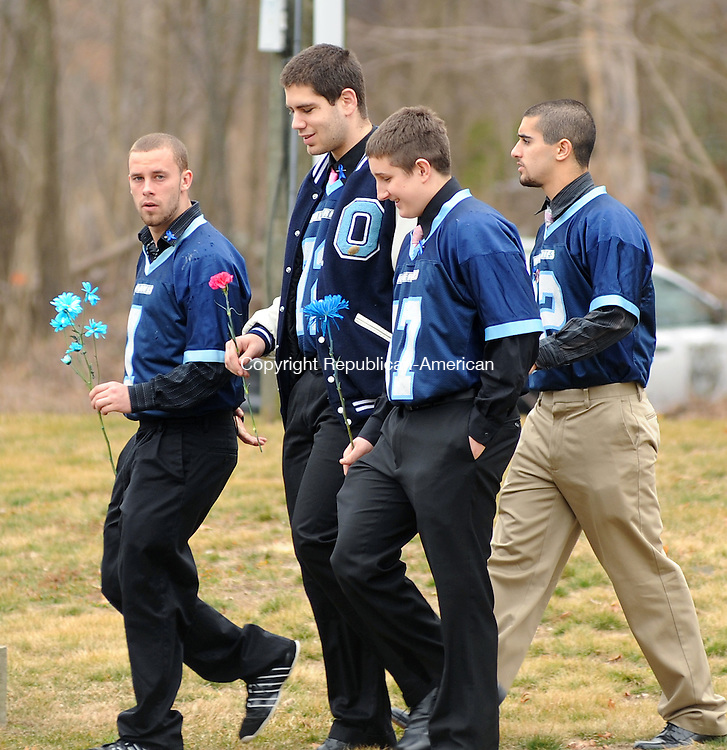 OXFORD, CT-16 MARCH 2012--031612JS03-Members of the Oxford High School football team arrived at the Cornerstone Assembly of God in Oxford on Friday for funeral services for Brandon Giordano who was killed in a one-car accident last week. .Jim Shannon Republican-American