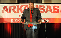 NWA Democrat-Gazette/ANDY SHUPE<br /> Arkansas coach Bret Bielema speaks Friday, Aug. 18, 2017, during the Kickoff Luncheon at the Northwest Arkansas Convention Center in Springdale. Visit nwadg.com/photos to see more photographs from the luncheon.