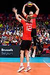 14.09.2019, Paleis 12, BrŸssel / Bruessel<br />Volleyball, Europameisterschaft, Deutschland (GER) vs. Belgien (BEL)<br /><br />Zuspiel Lukas Kampa (#11 GER), Anton Brehme (#12 GER)<br /><br />  Foto © nordphoto / Kurth