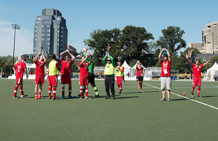 Toronto, ON - Aug 15 2015 - Canada vs. Venezuela in the Football 7-a-side Bronze Medal game on the Parapan Am Fields during the Toronto 2015 Parapan American Games  (Photo: Matthew Murnaghan/Canadian Paralympic Committee)