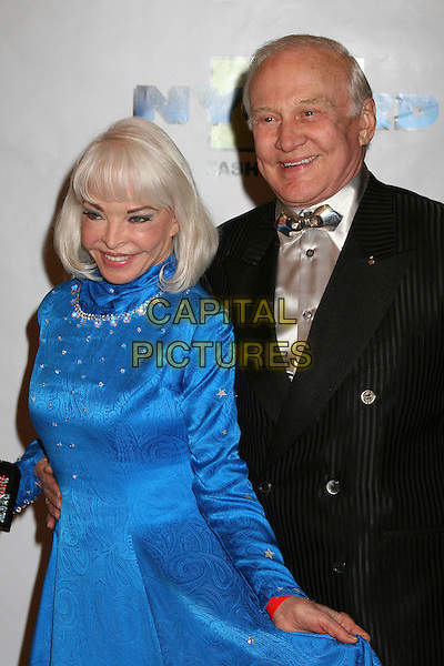 "LOIS & EDWIN ""BUZZ"" ALDRIN.17th Annual ""Night of 100 Stars"" Oscar Gala at the Beverly Hills Hotel, Beverly Hills, California , USA. .February 25th, 2007.half length black suit jacket blue dress married husband wife bow tie .CAP/ADM/BP.©Byron Purvis/AdMedia/Capital Pictures"