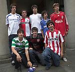 Spanish teenagers wear replica football shirts