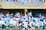 17 September 2016: JMU's Tyler Gray (45) kicks an extra point. The University of North Carolina Tar Heels hosted the James Madison University Dukes at Kenan Memorial Stadium in Chapel Hill, North Carolina in a 2016 NCAA Division I College Football game.