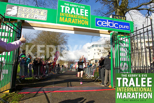 1443 Maria McCarthy pictured at the finish line in the  Kerry's Eye, Tralee International Marathon on Saturday March 16th 2013.