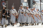 School children dressed as Byakko-tai soldiers take part in the Aizu Festval in Aizuwakamatsu City, Fukushima Prefecture, Japan.  Photographer: Rob Gilhooly