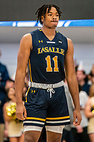 WASHINGTON, DC - FEBRUARY 22: Ed Croswell #11 of La Salle takes a break during a game between La Salle and George Washington at Charles E Smith Center on February 22, 2020 in Washington, DC.