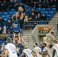 6th March 2020; AJ Bell Stadium, Salford, Lancashire, England; Premiership Rugby, Sale Sharks versus London Irish; Lood de Jager of Sale Sharks wins a lineout