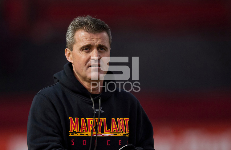 Maryland head coach Sasho Cirovski takes the field before the game at Ludwig Field in College Park, MD.  Maryland defeated Louisville, 3-1.