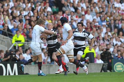 3./05.10     Paul Warwick is caught during the  Barbarians v England May 30 at Twickenham Stadium, Middlesex. England won this special match by a score over the Barbarians of England 35 Barbarians 26