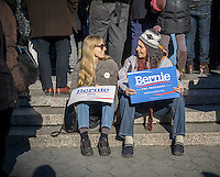 Several hundred supporters of presidential candidate Bernie Sanders rally in Union Square in New York on Saturday, February 27, 2016. (© Richard B. Levine)