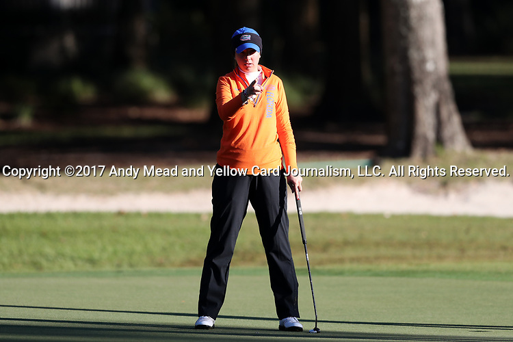 WILMINGTON, NC - OCTOBER 27: Florida's Carlotta Ricolfi (ITA) on the 11th green. The first round of the Landfall Tradition Women's Golf Tournament was held on October 27, 2017 at the Pete Dye Course at the Country Club of Landfall in Wilmington, NC.